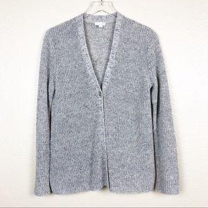 J Jill light blue grey linen blend knit cardigan